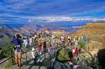 Crowds of tourist view Grand Canyon on summer day, Mather Point on South Rim of Grand Canyon National Park, Arizona, AGPix_0612    