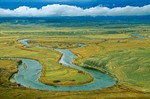 Meandering bends of the Yampa River with approaching storm in background, view from Duffy Mountain in Moffat County, Colorado, AGPix_0613