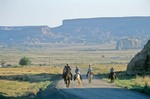 Navajo riders on road to Salina, during, Water Is Life Ride, 7/16/05, south of Cottonwood Chapter House, Navajo Indian Nation, Arizona, AGPix_0628
