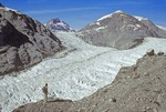 Hiker on ridge above Muir Glacier, 8/26/78, Glacier Bay National Park, Alaska, AGPix_0663