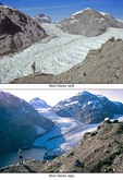 Retreat of Muir Glacier at Glacier Bay National Park, Alaska, upper photo taken on August 26, 1978 and lower photo taken June 27, 1993, AGPix_0665