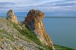 Limestone outcrop on The Palisades above Krusenstern Lagoon at Cape Krusenstern National Monument, on shore of Chuckchi Sea, Alaska, AGPix_0709