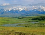 Jago River flows onto the Arctic Coastal Plain from the Romanzof Mountains, a part of the Brooks Range in the Arctic National Wildlife Refuge, Alaska, AGPix_0717