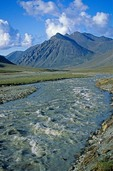 Jago River flows through an arctic valley in the Romanzof Mountains part of the Brooks Range in the Arctic National Wildlife Refuge, Alaska, AGPix_0718