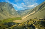 Remote unnamed valley amid rugged peaks of the Endicott Mountains in the Brooks Range at Gates of Arctic National Park, Alaska, AGPix_0725