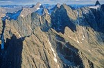 Arrigetch Peaks in the Brooks Range at Gates of the Arctic National Park, Alaska, aerial view, AGPix_0728