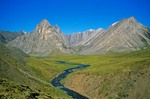 Stream flowing through unnamed valley in the Endicott Mountains in the Brooks Range at Gates of Arctic National Park, Alaska, AGPix_0729