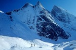 Skiers visit Arrigetch Peaks, winter in the Brooks Range at Gates of the Arctic National Park, Alaska, AGPix_0730