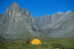 Backpackers campsite in unnamed valley in the Endicott Mountains in the Brooks Range, Gates of Arctic National Park, Alaska, AGPix_0734