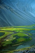 Tundra ponds below talus slopes in unnamed valley amid rugged peaks of the Endicott Mountains in the Brooks Range at Gates of Arctic National Park, Alaska, AGPix_0736