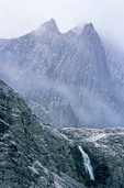 Fresh snow on rugged peaks in unnamed valley in the Endicott Mountains in the Brooks Range at Gates of Arctic National Park, Alaska, AGPix_0737