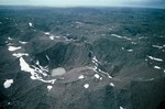 Aerial view of ablation moraine with stagnant glacial ice and kettle ponds at terminus of Malispina Glacier near Icy Bay in Wrangell-Saint Elias National Park and Preserve, northwest of Yakutat, Alaska, AGPix_0753