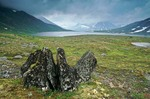 Rocks amid tundra near unnamed alpine lake south of Murray Lake in Katmai National Park, Alaska, AGPix_0768