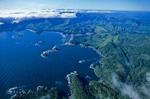 Aerial view of Pacific coast of Kruzof Island in Tongass National Forest nowthwest of Sitka, Alaska, AGPix_0779