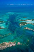 Aerial view of Exuma Cays the Great Bahama Bank with tidal channels northwest of Great Exuma Island in the Bahama Islands, AGPix_0782