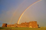 Rainbow archs over San Felipe a 16th century Spanish fortress guarding Puerto Plata in the Dominican Republic, AGPix_0794
