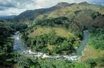 Rio Yaque Del Norte flows through valley near Manabao in Cordillera Central Mountains, Jarabacoa, Dominican Republic, AGPix_0796