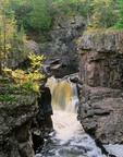 Waterfall in gorge at Temperance River State Park along the North Shore Drive of Lake Superior, Minnesota, AGPix_0806