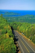 North Shore Drive, Highway 61 at Grand Portage Indian Reservation along shoreline of Lake Superior, Minnesota, AGPix_0808