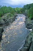 Saint Louis River flows through rocky gorge of Thompson Formation rocks at Jay Cooke State Park, south of Duluth, Minnesota, AGPix_0810