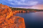 Sunrise on basalt cliffs of Tettegouche State Park on North Shore of Lake Superior near Silver Bay, Minnesota, AGPix_0811