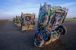 Cadillac Ranch at sunrise, cars buried in field West of Amarillo, Texas, AGPix_0813