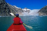 Kayaking near Northwest Glacier in Northwest Lagoon area of Kenai Fjords National Park near Seward, Alaska, AGPix_0818
