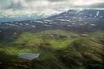 Aerial view of alpine tundra and lakes in mountains of Kodiak National Wildlife Refuge, Kodiak Island, Alaska, AGPix_0821