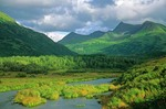 O'Malley River flows from mountain valley in Kodiak National Wildlife Refuge, Kodiak Island, Alaska, AGPix_0822    