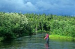 Fly fishing for trout and salmon on Grant Rver at Lake Kulik in Wood-tikchik State Park, Alaska, AGPix_0825