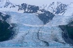 Bryn Mawr Glacier flows from mountains into College Fiord, Chugach National Forest, Prince William Sound, Alaska, AGPix_0830