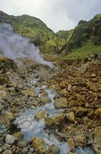 Hot springs and volcanic fumes in Valley of Desolation at Morne Trois Pitons National Park on Isle of Dominica, West Indies, AGPix_0845