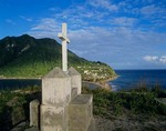 Cross at Scotts Head on southern tip of Island in Caribbean Sea, Isle of Dominica, West Indies, AGPix_0848