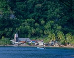 Village of Soufriere on coast of Caribbean Sea, Isle of Dominica, West Indies, AGPix_0849