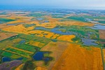 Aerial view of farm fields amid prairie pothole country north of Jamestown, North Dakota, AGPix_0859