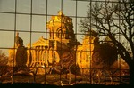 Iowa State Capitol building reflected in glass windows of Wallace State Office Building, Des Moines, Iowa, AGPix_0901