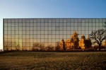Iowa State Capitol building reflected in glass windows of Wallace State Office Building, Des Moines, Iowa, AGPix_0902