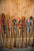 Haida canoe paddles at Haida Heritage Center in Skidegate on Graham Island in Queen Charlotte Islands of British Columbia, Canada, AGPix_0913