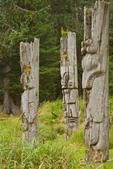 Standing poles at Ninstints a historic Haida village on Anthony Island, Sgaang Gwaii, in Gwaii Haanas National Park Reserve, in the Queen Charlotte Islands of British Columbia, Canada, AGPix_0921