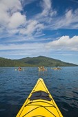 Sea Kayaking toward Rose Harbour in Gwaii Haanas National Park Reserve, in the Queen Charlotte Islands of British Columbia, Canada, AGPix_0926