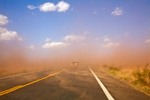 Dust Storm with dust blowing across Highway 160 west of Tuba City, Arizona, AGPix_0930