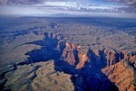 Aerial view of Little Colorado River Canyon with San Francisco Peaks in distance, Navajo Indian Reservation, near Cameron, Arizona, AGPix_0932