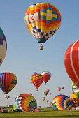 Hot-air ballons being inflated and launched during mass ascension at National Ballon Classic, Indianola, Iowa, AGPix_0937