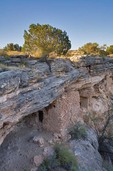 Ruins of ancient Indian Cliff Dwelling below rim of Montezuma Well a unit of Montezuma Castle National Monument, Arizona, AGPix_0944