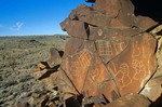 Indian Petroglyphs on basalt rocks in Cow Cove area in Mojave National Preserve, California, AGPix_0954