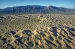 Aerial view of Kelso Sand Dunes with Granite Mountains in background, Mojave National Preserve, California, AGPix_0961