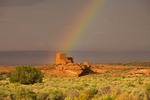 Rainbow during summer monsoon rainstorm at Wukoki Pueblo in Wupatki National Monument north of Flagstaff, Arizona, AGPix_0967