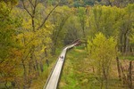 Trail with bridge over the Yellow River at Effigy Mounds National Monument, Marquette, Iowa, AGPix_0992