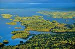 Aerial view of islands in Rainy Lake and Kabetogama Peninsula, view looking west from near Big Island, Voyageurs National Park, Minnesota, AGPix_1011