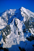 Aerial of Fairweather Mountains, Mt Bertha, with alpine glaciers, glacial horns, and aretes visible on mountains, Glacier Bay National Park, Alaska, AKGB_01919